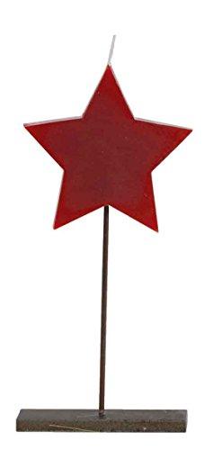 Bougie étoile de Noël. Noël porte-bougie en métal, avec la figure d'une étoile rouge. Les mesures de soutien adapte bougie sapin de Noël, avec lequel vous pouvez combiner. La bougie est faite de cire. Mesures bougies du sapin. 23 cm de haut. (rouge étoile de Noël)