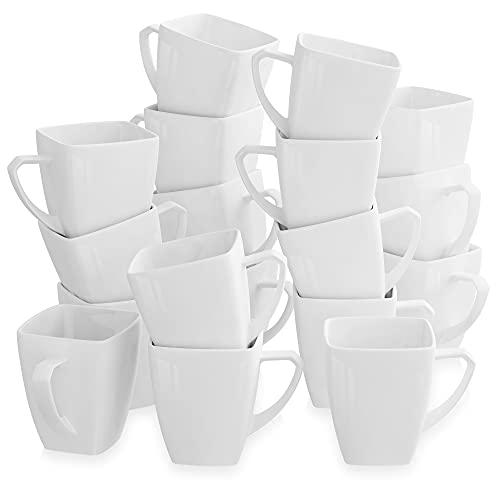 MALACASA, Serie Blance, 18er Porzellan Kaffeetassen Set CremeWeiß 350ml Tassen 4,5 Zoll / 11,5x8x10,5cm Teetassen Kaffeebecher Kaffeeservice für 18 Personen