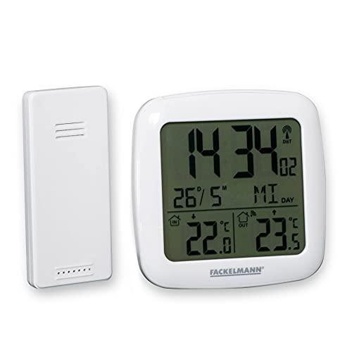 Fackelmann Wetterstation Funk mit Außensensor Tecno, kabelloses Thermometer in modernen weißen Design, Digitaler Wecker mit großem Display & Blacklight Funktion