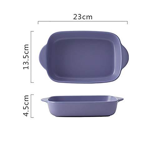 Yangxuelian Fuente Horno Ceramica Gran Fuente de Horno de cerámica, gres rectangulares for el hogar cocinas, diseño del Color sólido (23x13.5x4.5cm) para lasañas, Pasteles, Tapas y más