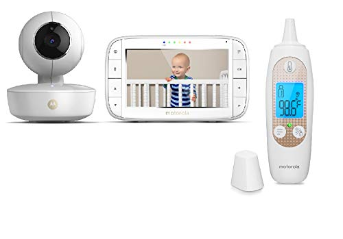 "[Exclusive] Motorola Baby Bundle - MBP36XL Video Baby Monitor with 5"" LCD Display Pan/Tilt/Zoom, Rechargeable Camera and MBP69SN Smart Ear Thermometer Monitors"