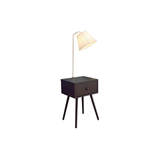 QTDH Moderne salontafel staande lamp op bed van hout, bijzettafel, opbergruimte, staande leeslamp voor op de vloer, licht voor slaapkamer of kantoor