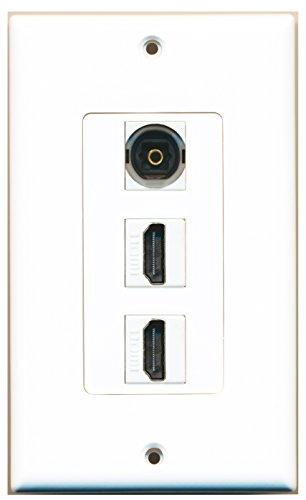 RiteAV - 1 Toslink Digital Audio Port and 2 HDMI Port Wall Plate Decorative