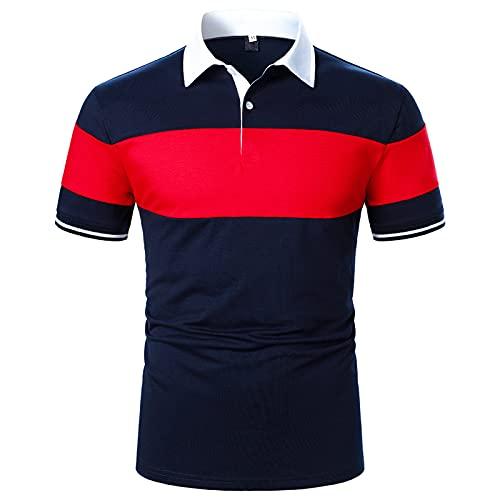 Polo para hombre, camisa de negocios, camisa de manga corta, cuello redondo, corte ajustado, elástico, monocolor, para verano, deporte, tenis, golf, cuello en V Rojo6 S