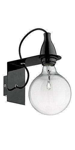 Ideal Lux 045214 MINIMAL AP1 NERO, Monture en Métal Finie en Chrome Ou en Émail Coloré. Ampoule Halogène À Basse Consommation Inclue. Câble Éléctrique Recouvert en Tissu, E27, 70 W, Noir