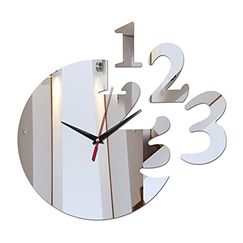 Restaurante familiar Cocina Reloj de pared Decoración para el hogar Acrílico Espejo Reloj de pared Caja fuerte Diseño moderno Big Digital Reloj Etiqueta engomada ( Color : Silver )