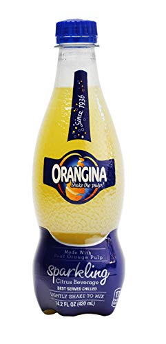 Orangina - Citrus Sparkling Juice Beverage - Light Pulp - Original Imported European French Recipe - (Pack of 12) (14.2 oz Bottle)