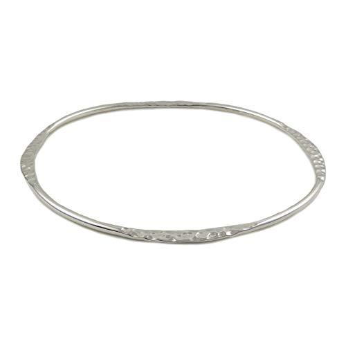 Armreif massives Sterling-Silber 925 gehämmert poliert oval