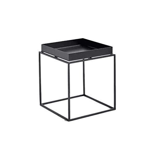 Table Basse multifonctionnelle Salon de Fleurs Canapé Table d'appoint Tablette Chambre Bureau Métal Noir et Blanc (Couleur : Noir, Taille : 30x30cm)