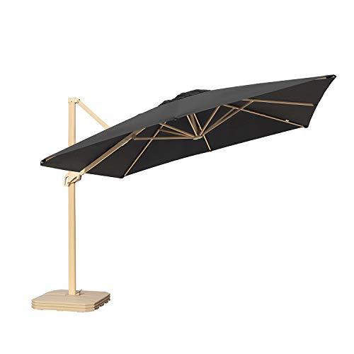 Sekey Ampelschirm 300 x 300 cm Aluminium-Sonnenschirm Marktschirm Gartenschirm Terrassenschirm Kurbelschirm Quadratisch Sonnenschutz mit Sonnenschirmständer UV50+