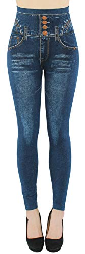 dy_mode High Waist Leggings Damen Jeggings Hochbund Leggins - JL060 (JL279-Flowery | One Size Gr.34-38)
