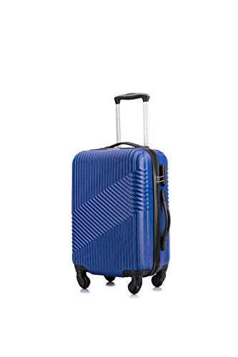 Flymax Cabin Luggage 4 Wheel Suitcase Lightweight Carry on 55x35x20 Approved for Flybe Ryanair Easyjet British Airways Blue