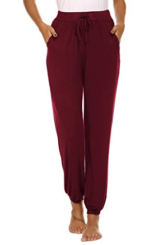 Ekouaer Womens Cotton Pajama Pants, Comfortable Pant for Lounge, Soft Lightweight Sleep Pj Bottoms for Women Wine Red