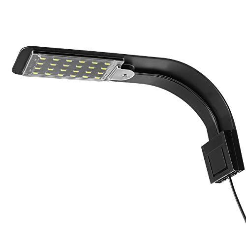 UEETEK Super Delgado LED Plantas de luz de Acuario Crecen la iluminación Creativa Clip-on lámpara con Enchufe de la UE (luz Blanca)