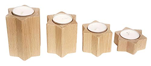 Hess Holzspielzeug 40044 Tea Light Holder in Star Shape Set of 4 Natural Wood Height Approx. 3 cm Approx. 5 cm Approx. 7 cm and 9 cm Decoration for Special Occasions from the Ore Mountains