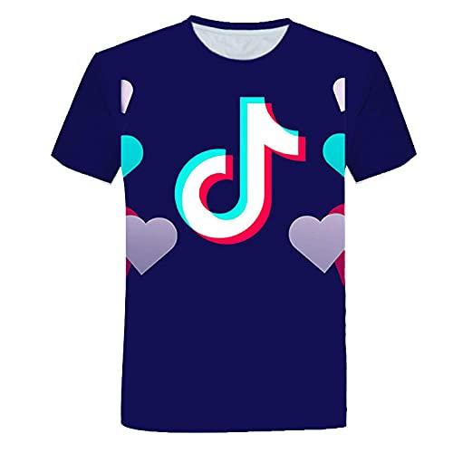 T-fashion shop Celebridad de Internet Mismo Estilo,Camiseta de Ocio de impresión Digital No Cuello de Manga Suelta de Manga Corta Masculina-GRAMO_S