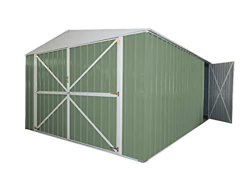 Notek Srl Box in Acciaio Zincato Capanno da Giardino rimessa Auto in Lamiera 3.60 x 6.00 m x h2.30 m - 346 kg – 21 Metri Quadri (Verde)