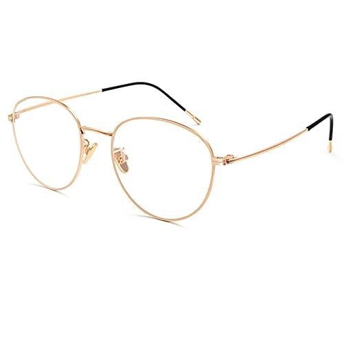 EYEphd Gafas de Lectura Anti-Azules progresivas de múltiples enfoques progresivos de Titanio Puro para Mujer, Exquisita bisagra Retro Gafas de Marco Redondo Aumento +1.0 a +3.0,02,+1.25