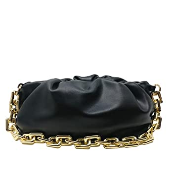 Women s Chain Pouch Bag   Cloud-Shaped Dumpling Clutch Purse   Ruched Chain Link Shoulder Handbag  Black