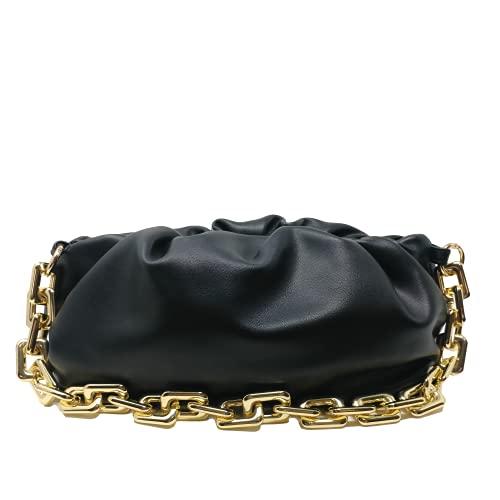 Women's Chain Pouch Bag | Cloud-Shaped Dumpling Clutch Purse | Ruched Chain Link Shoulder Handbag (Black)