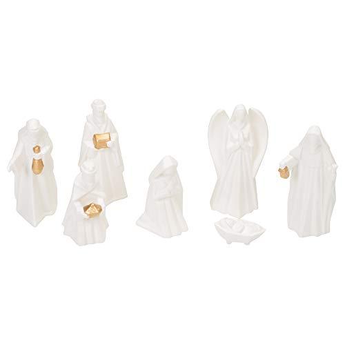 White Porcelain 7 PC Hand Painted Miniature Christmas Nativity Set, Boxed