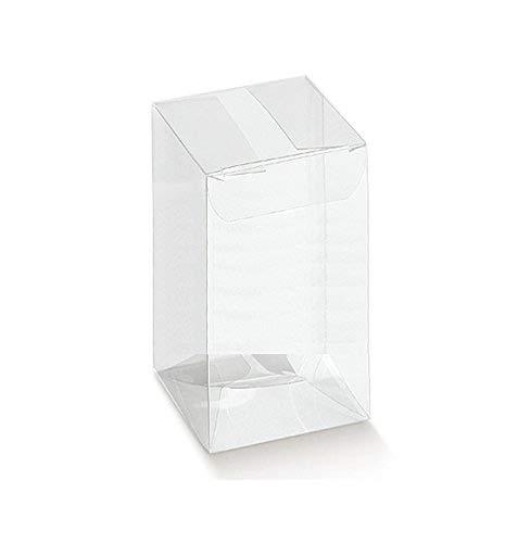 50 Piezas Caja PVC Transparente 5X5X10.5 cm Titular de la Almendra de Detalle