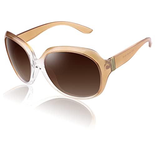 CGID Occhiali da Sole Polarizzati per Donne Occhiali da Sole per Signora Grandi Forma Polaroid Occhiali con Protezione UV400 Occhiali Scuri 100% UV 400 Occhiali per la Guida Classica