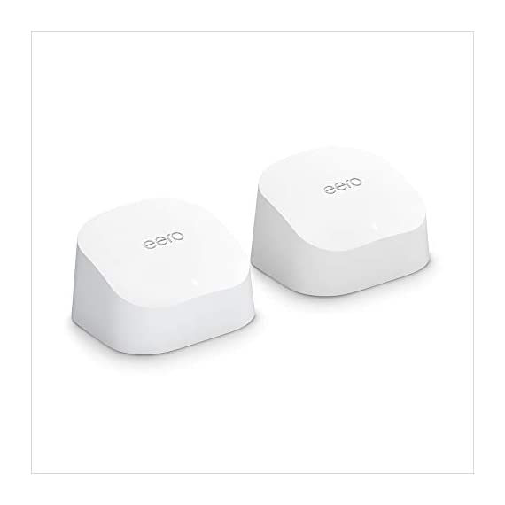 Introducing Amazon eero 6 dual-band mesh Wi-Fi 6 router, with built-in Zigbee smart home hub (1 router + 1 extender) 1 Whole-home Wi-Fi 6 coverage - eero covers up to 1,500 sq. ft. with wifi speeds up to 900 Mbps. Say goodbye to dead spots and buffering - Our TrueMesh technology intelligently routes traffic to reduce drop-offs so you can confidently stream 4K video, game, and video conference. More wifi for more devices - Wi-Fi 6 delivers faster wifi with support for 75+ devices simultaneously.