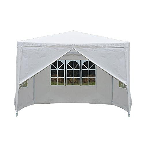 Carpa de carpa con 4 lados – 3 x 3 m impermeable resistente al agua, refugio de jardín para exteriores, bodas, fiestas, camping, eventos