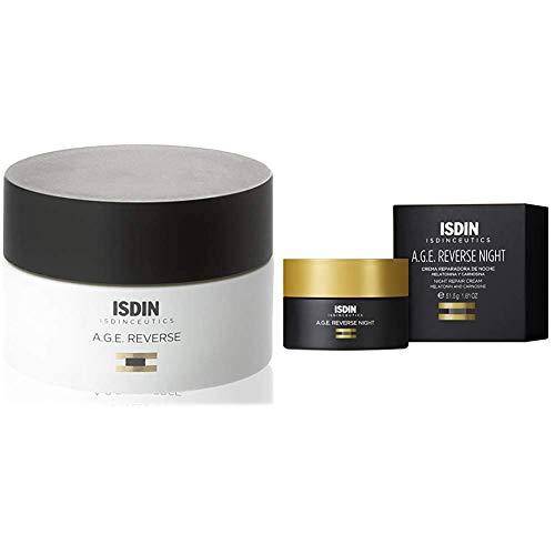 ISDIN Isdinceutics PACK A.G.E. Reverse - Crema Facial Antiedad facial de Triple Acción de Día + Crema Facial Reparadora de Noche con Melatonina Anti Aging, 50+50, 100ml