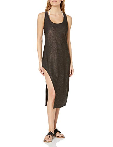 Kenneth Cole New York Women's Asymmetrical Tank Dress Swimsuit Cover Up, Black//Day Glow, S