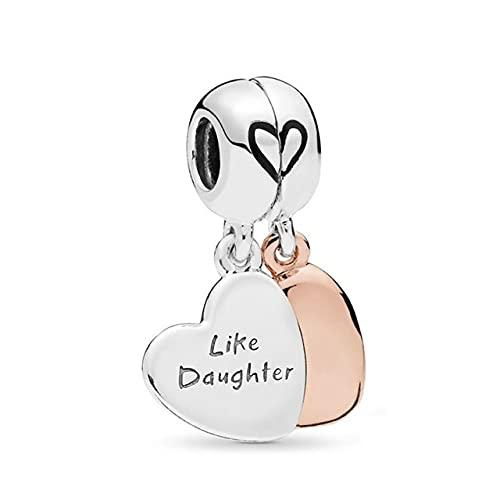 Colgante de encanto de amor de madre e hija adecuado para pulsera original DIY regalo de joyería de plata, 14