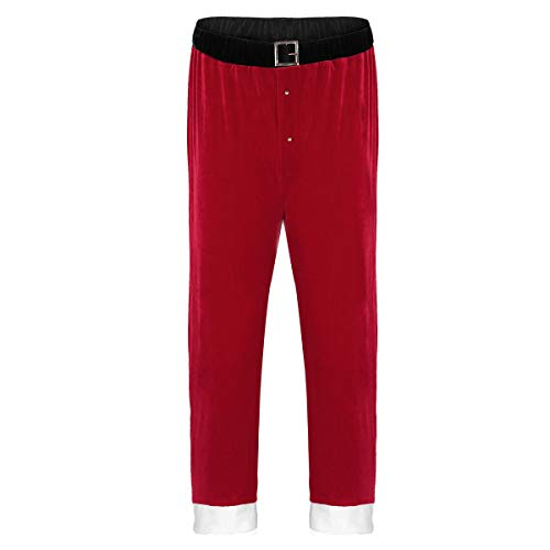ACSUSS Men's Christmas Santa Claus Costume Red Velvet Pajama, Red, Size Large