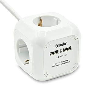 Extrastar PowerCube (Extended USB 1.5 m) Regleta de 4 Salidas, con 2 para Carga de USB 5V Blanco (Blanco)