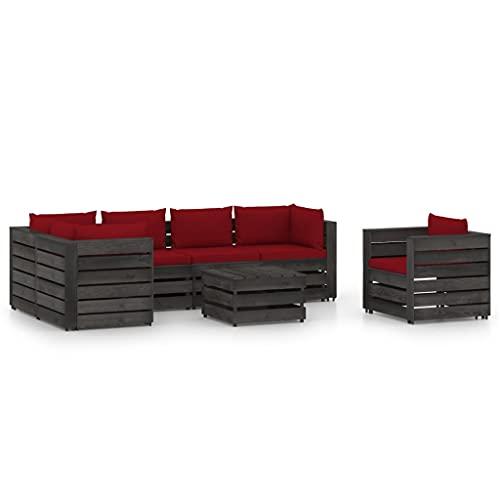 vidaXL Madera Impregnada Muebles de Jardín 7 Piezas con Cojines Mobiliario Exterior Terraza Balcón Hogar Cocina Mesa Silla Asiento Gris