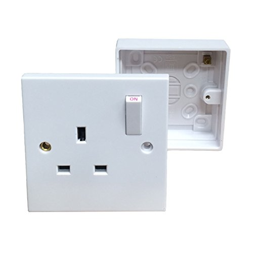 Single Wall Socket & Back Box Pattress. 1 Gang Switched Plug Electrical Outlet by RED/GREY