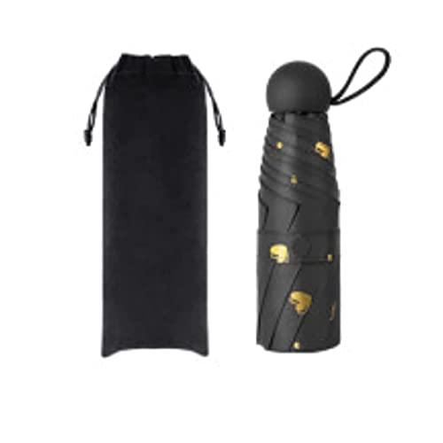 Regenschirm Regenschirm Sonnenschirm Kompakter und tragbarer Sonnenschutz und Anti-ultraviolett weiblicher Regenschirm Falten Fünffache Regenschirm Winddicht (Farbe: See Blau, Größe: Kapselversion) DA