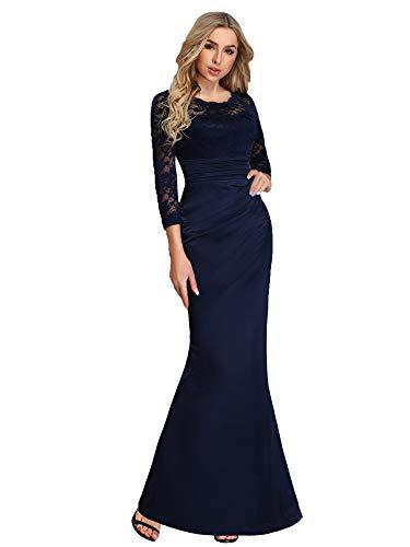 Ever-Pretty Vestido Largo de Fiesta Noche Mangas Largas Encaje para Mujer Elástico Azul Marino 36