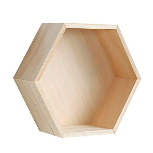 Huo J Estantes, repisas hexagonales hexagonales, estantes de Madera Flotante hexágono, Hexagonal Estante montado en la Pared, decoración de la Pared Tamaño de la Puerta: 27 * 9 * 23,5 cm