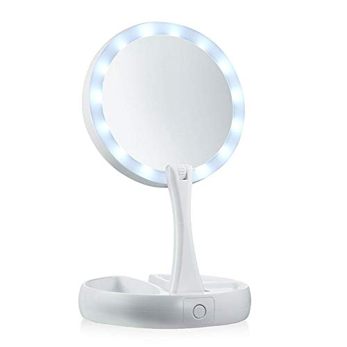 Spiegel Vouwspiegel LED WHT 10X Vergroting, Een Witte LED Verlichting LED Natuurlijke Vouwspiegel Verlichte Spiegel Desktop,White