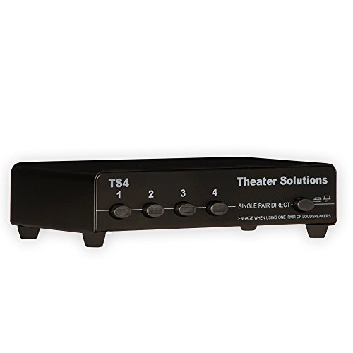Theater Solutions TS4 Four Zone Speaker Selector Box with Ohm Protection 4 Pair Speaker Switcher, Black