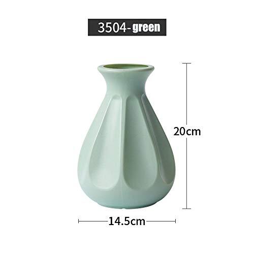 Vase Vase Home Decoration Anti-Keramik Vase Zubehör Kunststoff Moderne Kreative Hochzeitsdekoration Blumen 3504-Grün