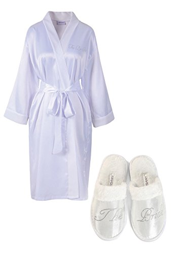 White Rhinestone The Bride Satin Bridal Dressing Gown & Spa Slipper Wedding Personalised Hen Party Gift Set