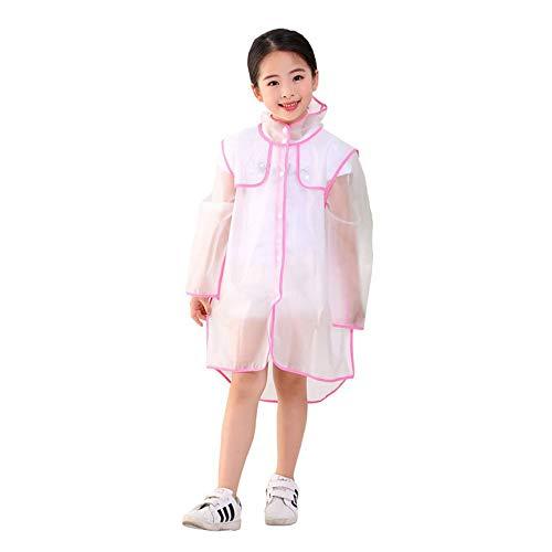 Transparante kinderponcho's met capuchon, 2 stuks kinderregenjassen, waterdicht maken in pretparken, kamperen en regenachtige buitenactiviteiten,Pink,L