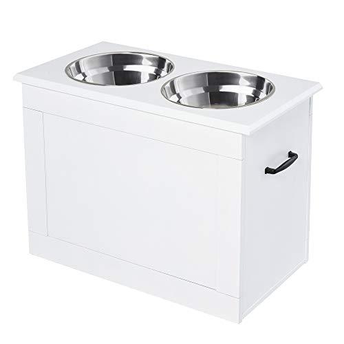 Pawhut Hunde Fressnapf mit Staumraum 2 Näpfen Futterstation Edelstahlnapf Katzenapf MDF Edelstahl Weiß 60 x 30 x 41 cm