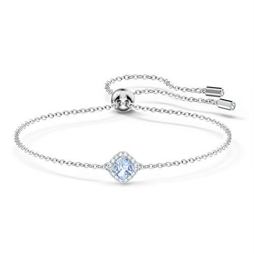 Swarovski Angelic Cushion Armband, Rhodiniertes Damenarmband mit Funkelndem Blauen Element und Weißem Kristallpavé