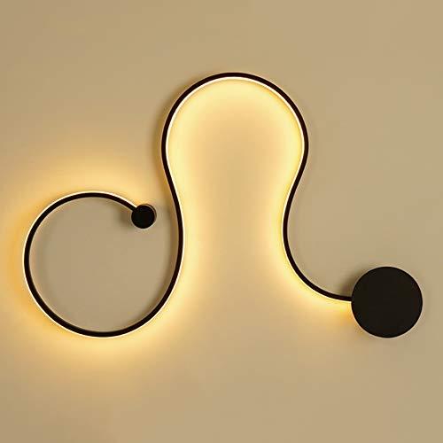 DKEE Luces de Pared LED Personalidad Línea Decoración Lámpara De Pared Pasillo Pasillo Comedor Sala De Estar Estudio Estudio Escaleras Balcón Negro Luz Amarilla Cálida Moderno Simple Acrílico