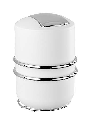 WENKO Express-Loc® Schwingdeckeleimer Cali - Kosmetikeimer mit Schwingdeckel, Befestigen ohne bohren Fassungsvermögen: 2 l, Edelstahl rostfrei, 15 x 22.5 x 18 cm, Glänzend