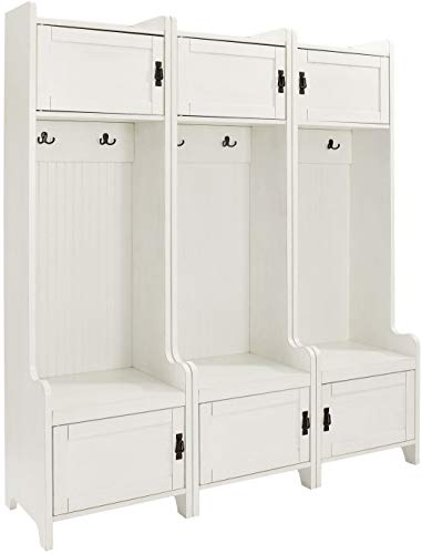 Crosley Furniture  Fremont Tower Entryway Hall Tree with Storage (Set of 3), Distressed White Back Hall Tree Benches