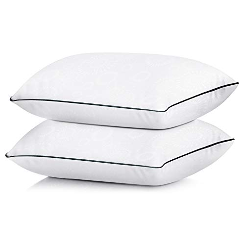 Coolzon Bed Pillows for Sleeping Standard Pillow Set of 2, Gel Cooling Pillow Home & Hotel Collection Fluffy Pillows Soft and Firm Down Alternative Fill, 2 Pack
